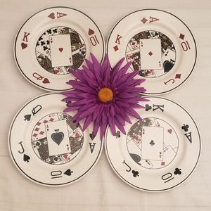 Playing Cards Dessert Plates- Set of 4
